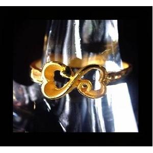 純金ゴールドリング【ダブルハート】フリーサイズ r06