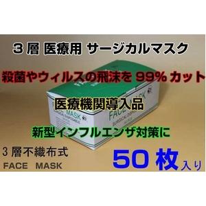 3層医療用 サージカル マスク facemask 50枚1セット