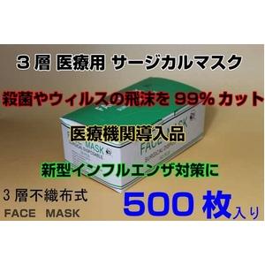 3層医療用 サージカル マスク facemask 50枚10セット 500枚