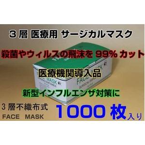 3層医療用 サージカル マスク facemask 50枚20セット 1000枚