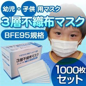 【子供用マスク】新型インフルエンザ対策3層不織布マスク 1000枚セット(50枚入り×20)
