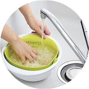 ボウル一体型ざる/調理器具 【大サイズ グリーン】 日本製 食器洗浄機対応 『ミラくるザル・ボウル』 〔キッチン 台所〕