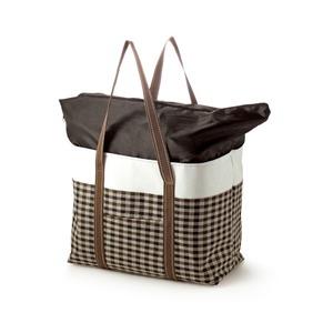 ブラウンチェック レジかご対応保温保冷バッグ