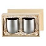 チタン製 タンブラー/ビアカップ 【2PCS】日本製 2重カップ 『アサヒ』 〔カフェ バー〕