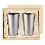 チタン製 タンブラー/ビアカップ 2PCS 日本製 2重カップ TW-6 『アサヒ』 〔カフェ バー〕