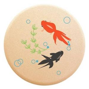 コースター【吸水コースター】いつでもさらさら (金魚 4枚セット(珪藻土)) - 拡大画像
