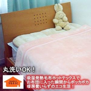 あったか発熱毛布 ホットテックス(HOT TEX) ニューマイヤー毛布 シングル ピンク - 拡大画像