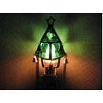 ステンドガラス製 クリスマスツリーフットランプ(グリーン)