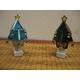 ステンドガラス製 クリスマスツリーフットランプ(グリーン) 写真2