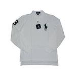 POLO Ralph Lauren(ポロ ラルフローレン) ビッグポニーポロシャツ(長袖) カスタムフィット ホワイト×グリーン Sサイズ【送料無料】