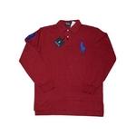 POLO Ralph Lauren(ポロ ラルフローレン) ビッグポニーポロシャツ(長袖) カスタムフィット レッド×ブルー Mサイズ【送料無料】