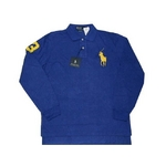 POLO Ralph Lauren(ポロ ラルフローレン) ビッグポニーポロシャツ(長袖) カスタムフィット ブルー×イエロー Lサイズ【送料無料】