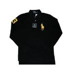 POLO Ralph Lauren(ポロ ラルフローレン) ビッグポニーポロシャツ(長袖) カスタムフィット ブラック×イエロー Lサイズ【送料無料】