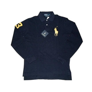 POLO Ralph Lauren(ポロ ラルフローレン) ビッグポニーポロシャツ(長袖) カスタムフィット ネイビー×イエロー Sサイズ - 拡大画像
