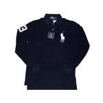 POLO Ralph Lauren(ポロ ラルフローレン) ビッグポニーポロシャツ(長袖) カスタムフィット ネイビー×ホワイト Lサイズ【送料無料】