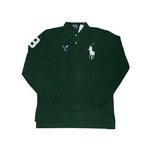 POLO Ralph Lauren(ポロ ラルフローレン) ビッグポニーポロシャツ(長袖) クラシックフィット グリーン×ホワイト Sサイズ【送料無料】