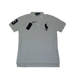POLO Ralph Lauren(ポロ ラルフローレン) ビッグポニーポロシャツ(半袖) カスタムフィット ホワイト×ネイビー Lサイズ【送料無料】