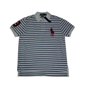 POLO Ralph Lauren(ポロ ラルフローレン) ビッグポニーストライプポロシャツ(半袖) カスタムフィット ホワイト×ブルー Lサイズ - 拡大画像