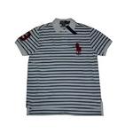 POLO Ralph Lauren(ポロ ラルフローレン) ビッグポニーストライプポロシャツ(半袖) カスタムフィット ホワイト×ブルー Lサイズ【送料無料】