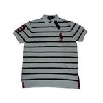 POLO Ralph Lauren(ポロ ラルフローレン) ビッグポニーストライプポロシャツ(半袖) カスタムフィット ホワイト×ネイビー Lサイズ【送料無料】