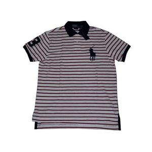 POLO Ralph Lauren(ポロ ラルフローレン) ビッグポニーストライプポロシャツ(半袖) カスタムフィット ホワイト×レッド Lサイズ - 拡大画像
