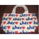 Cher(シェル)エコバッグ・Sサイズ(カラー:ホワイト×ネイビー)