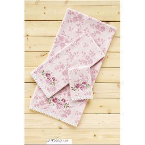 ガーデンピンク(無撚糸ジャガード+刺繍、レース) ウォッシュタオル ピンク 【5枚セット】