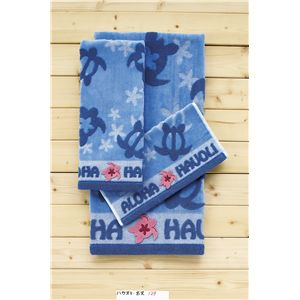 ホヌ柄(無撚糸スチームシャーリング+アップリケ刺繍) バスタオル ブルー 【5枚セット】
