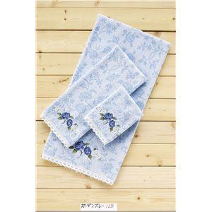 ガーデンブルー(無撚糸ジャガード+刺繍、レース) フェイスタオル サックス 【10枚セット】