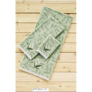 ガーデングリーン(無撚糸ジャガード+刺繍、レース) バスタオル グリーン 【10枚セット】