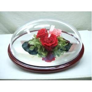 (ローズ)バラ プリザーブドフラワー オーバルドーム入り 全高9cm - 拡大画像