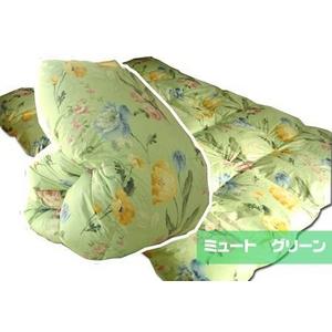 羽毛布団のリフォーム(打ち直し)【お手軽コース】(シングル掛→シングル掛/普通仕立)【ミュート】グリーン 綿100%