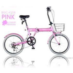 HEAVENs カラフル折畳自転車 BGC-K206-PK ピンク画像1