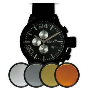 MAX XL WATCHES(マックスエックスエルウォッチ) レザーベルト腕時計 47ミリ 5-MAX524 ブラックフェイス 4枚交換レンズ付 - 拡大画像