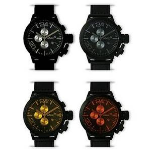 MAX XL WATCHES(マックスエックスエルウォッチ) レザーベルト腕時計 47ミリ 5-MAX524 ブラックフェイス 4枚交換レンズ付