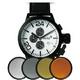 MAX XL WATCHES(マックスエックスエルウォッチ) レザーベルト腕時計 47ミリ 5-MAX523 ホワイトフェイス 4枚交換レンズ付 写真1