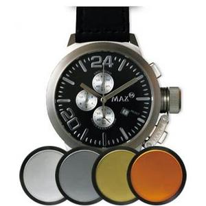 MAX XL WATCHES(マックスエックスエルウォッチ) レザーベルト腕時計 47ミリ 5-MAX522 ブラックシルバーフェイス 4枚交換レンズ付 - 拡大画像