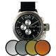 MAX XL WATCHES(マックスエックスエルウォッチ) レザーベルト腕時計 47ミリ 5-MAX522 ブラックシルバーフェイス 4枚交換レンズ付 写真1