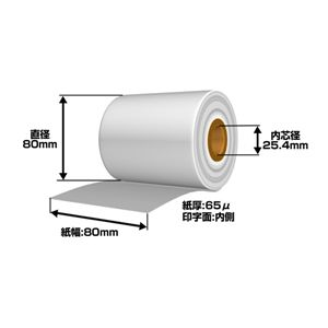 【感熱紙】80mm×80mm×1インチ 裏巻き (60巻入り) - 拡大画像