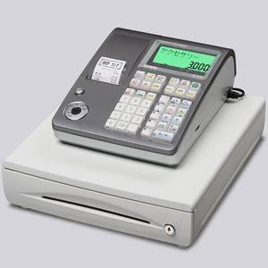CASIO(カシオ) レジスター TE-300 【シルバー】 × レジロール紙(感熱紙) 20巻セット