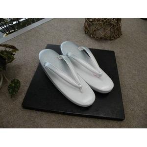 草履単品 つやけし 白系 礼装用 611 ★おまけ付き - 拡大画像
