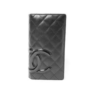 【中古A】CHANEL(シャネル) 2つ折り長財布 カンボンライン 黒/黒