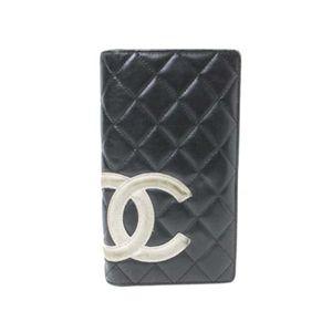【中古B】CHANEL(シャネル) 2つ折り長財布 カンボンライン A26717 黒/白