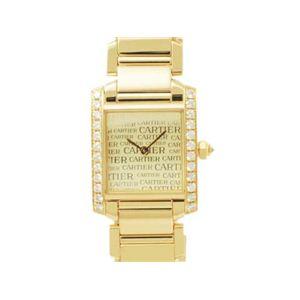 【現品限り】Cartier(カルティエ) タンクフランセーズSM サイドダイヤ ニュースダイアル 文字盤:ゴールド 【中古SA】