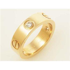 【現品限り】Cartier(カルティエ) ラブリング ハーフダイヤ YG #50 イエローゴールド 【中古A】