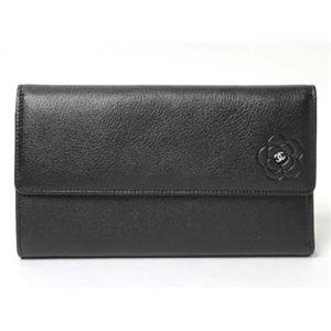 CHANEL(シャネル) 3つ折長財布 カメリア ブラック A46501