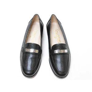 【現品限り】CHANEL(シャネル) ローファー #35 靴 カーフ型押し 黒 【未使用】 - 拡大画像