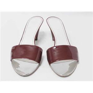 【現品限り】CHANEL(シャネル) ミュール 靴 エナメルレザー ボルドー/シルバー 【中古SA】 - 拡大画像