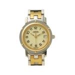 【現品限り】HERMES(エルメス) 腕時計 クリッパー コンビ SS/GP アイボリー クオーツ CL4.220【中古A】
