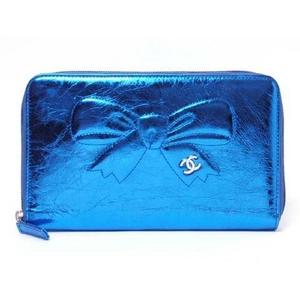 CHANEL(シャネル) ラウンドファスナー長財布 メタリックブルー A46899